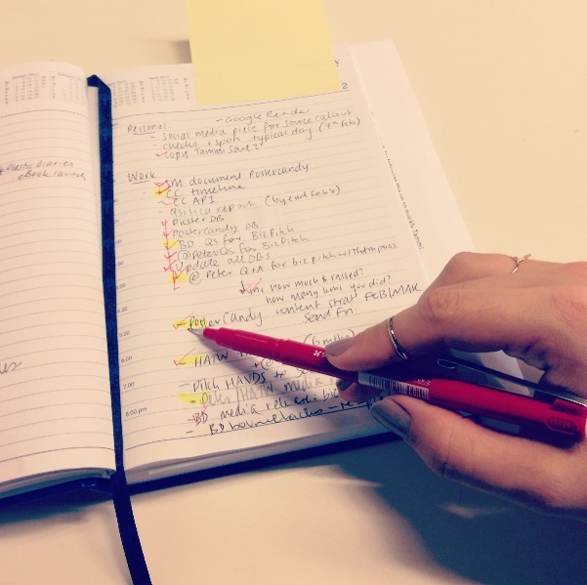 Checking the week's To Do list - Tammi Ireland - Publicist