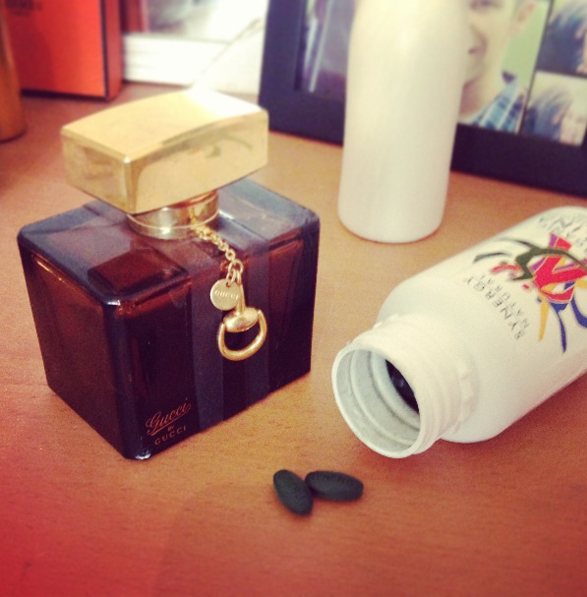 Starting the morning right, with the two must-haves (Gucci by Gucci and Spirulina supplements) - Tammi Ireland - Publicist