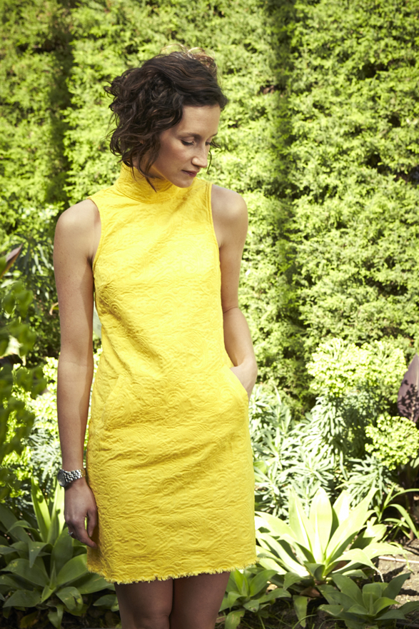 Clare Hillier Checks and Spots Yellow Dress