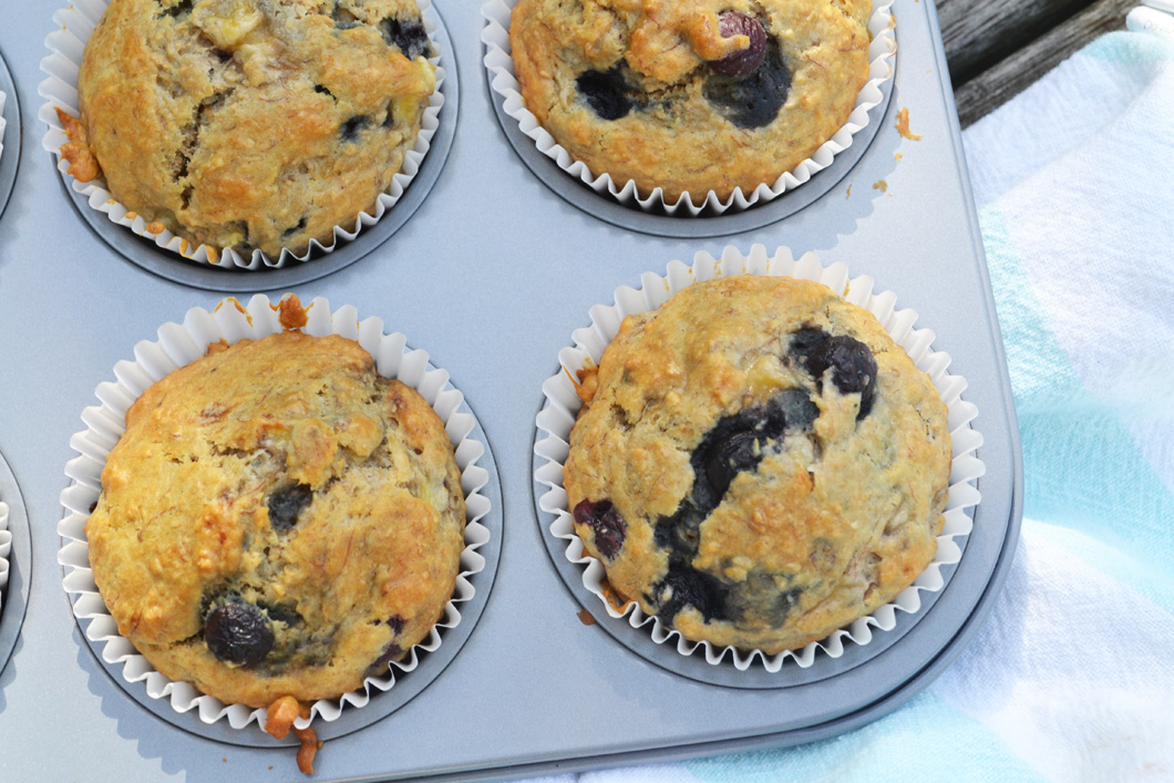 Wholemeal Banana and Blueberry Muffin Recipe • Checks and Spots