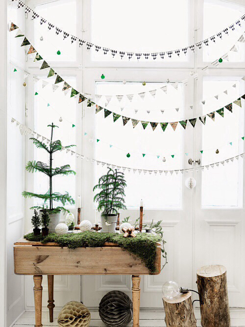 copper natural elements and the sweetest bunting make for unqiue christmas decorations image via